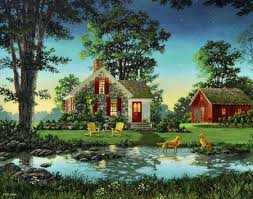 painting of a country cottage